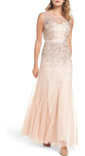 ADRIANNA PAPELL beaded chiffon gown - Twinkling beads and sequins cast icy tendrils over the...
