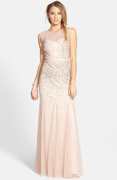 Adrianna Papell beaded chiffon gown in blush - Twinkling beads and sequins cast icy tendrils over the...