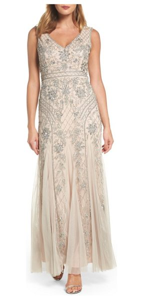Adrianna Papell beaded double v-neck gown in silver/ nude - Glittering flowers climb a sparkling trellis on a dreamy...