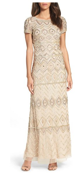 Adrianna Papell beaded gown in champagne gold - Shimmer in the moonlight in a swath of metallic beads...