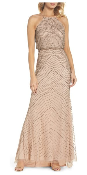 ADRIANNA PAPELL beaded halter gown in taupe/ pink - Chevronned beading sparkles and shines on a gorgeous...