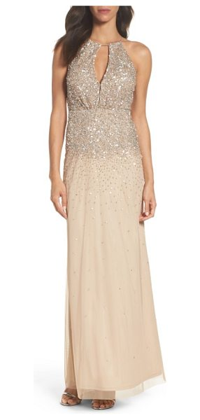 ADRIANNA PAPELL beaded halter gown - Take the spotlight in this long chiffon gown detailed...