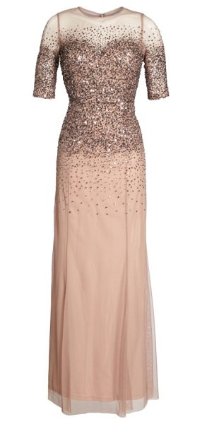 Adrianna Papell beaded illusion bodice mesh gown in rose gold - Twinkling beads and sequins are scattered down the sheer...