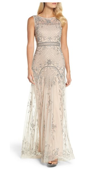 Adrianna Papell beaded illusion column gown in silver/ nude - Diamond lattices and vines created from glistening beads...