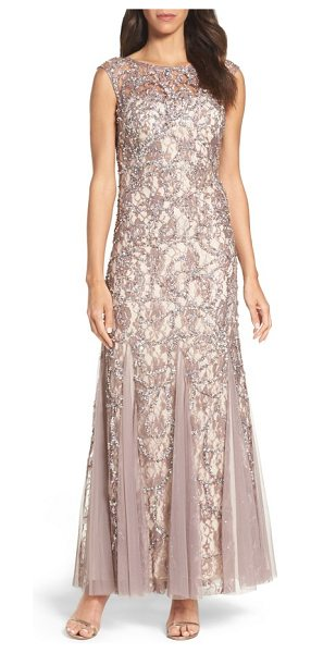 Adrianna Papell beaded lace gown in stone nude - Floral lace enriched by beaded sparkle brings out the...