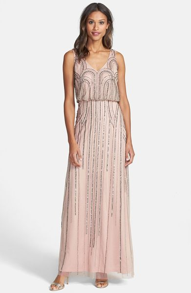 Adrianna Papell beaded mesh blouson gown in taupe/ pink - Art Nouveau-inspired beadworks casts midnight glitter...