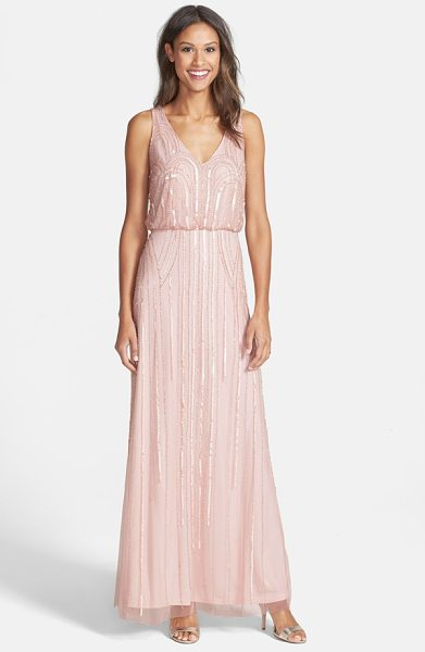 Adrianna Papell beaded mesh blouson gown in blush - Art Nouveau-inspired beadworks casts midnight glitter...