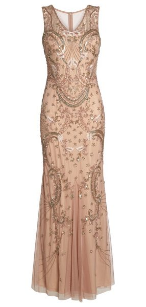 Adrianna Papell beaded mesh dress in rose gold - A swishy godet skirt enhances the whimsical elegance of...