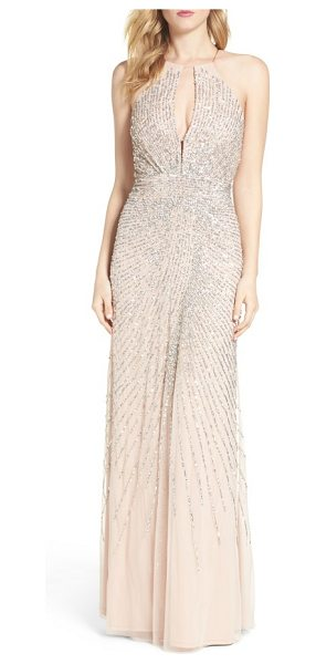 ADRIANNA PAPELL beaded mesh fit & flare gown - Glittering beads and sequins radiate from the plunging...