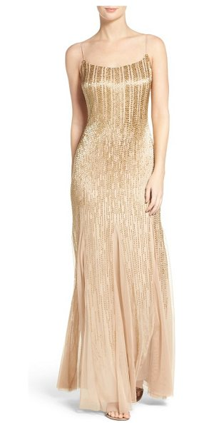 ADRIANNA PAPELL beaded mesh gown - Gleaming bugle beads stream down this godet-flared...