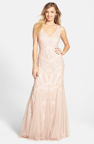 Adrianna Papell beaded mesh inset gown in blush - Constellations of sequins and beads winking across a...