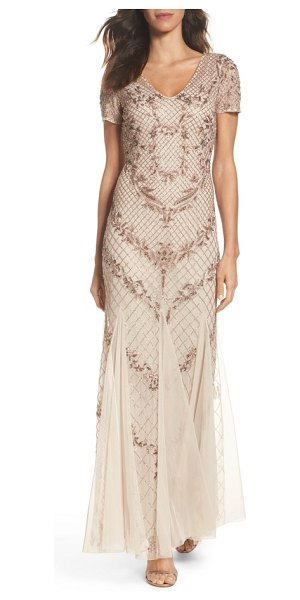Adrianna Papell beaded mesh mermaid gown in biscotti - Make a stunning entrance in this graceful beaded gown...