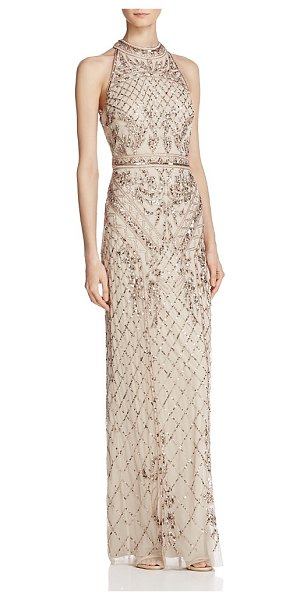 Adrianna Papell Beaded Mock-Neck Gown in biscotti - Adrianna Papell Beaded Mock-Neck Gown-Women
