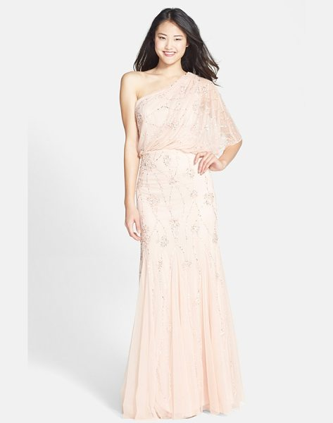 Adrianna Papell beaded one shoulder blouson gown in blush - Gleaming patterns of metallic sequins and beads light up...