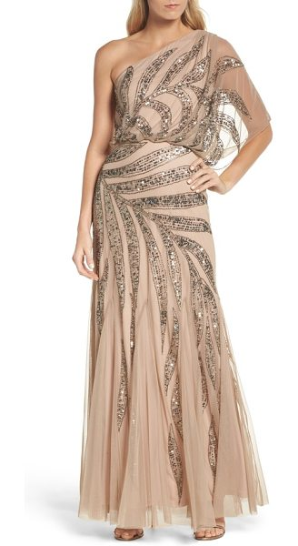 Adrianna Papell beaded one-shoulder blouson mesh gown in taupe/ pink