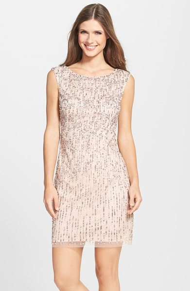ADRIANNA PAPELL beaded sheath dress in blush - Cascades of sequins and pearlescent beads coat a...