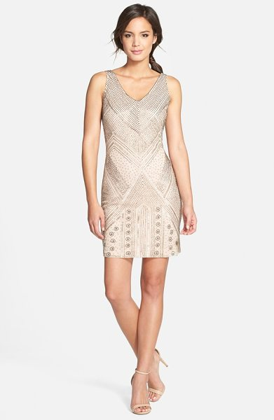 Adrianna Papell beaded sleeveless cocktail dress in cream - Sparkling beads in Art Deco motifs embellish the sheer...
