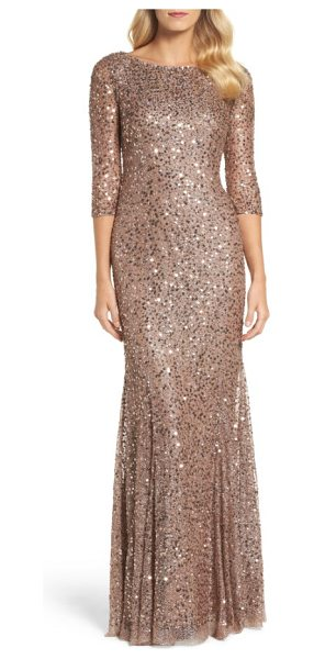 Adrianna Papell beaded trumpet gown in dark rose gold - A web of metallic threads is scattered with sequins and...