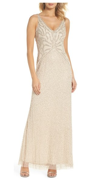 Adrianna Papell beaded v-neck gown in pale nude - An elegant V-neck gown features scrolled beading that...