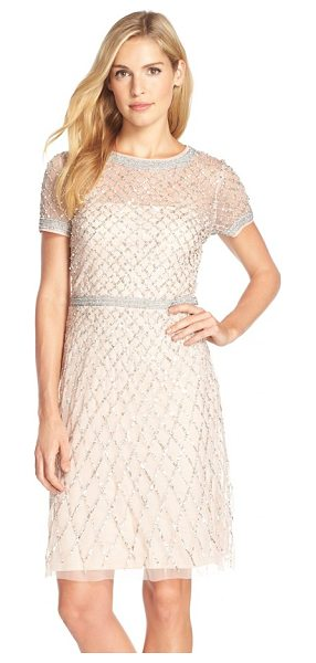 Adrianna Papell beaded woven sheath dress in blush - This airy cocktail sheath teems with gleaming beadwork,...