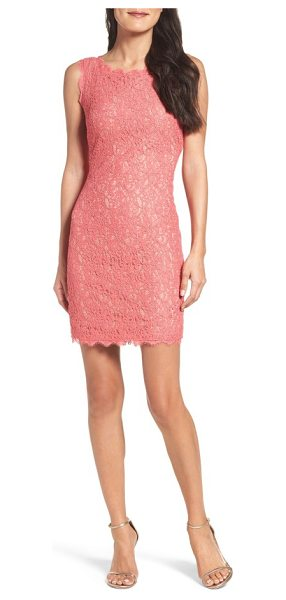 Adrianna Papell boatneck lace sheath dress in french coral/ nude - A racy lace overlay and industrial-chic exposed zipper...