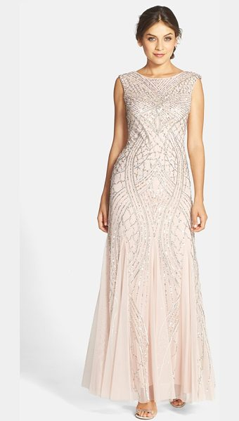 Adrianna Papell cap sleeve beaded gown in shell - Curvaceous, Deco motifs with silvery shimmer skim down a...