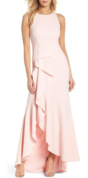 Adrianna Papell cascade crepe gown in pale shell - Embody the softness and grace of a garden blossom in a...