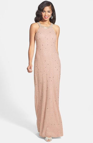 ADRIANNA PAPELL caviar illusion back beaded gown - Shimmering beads brighten a smoky gown designed with...