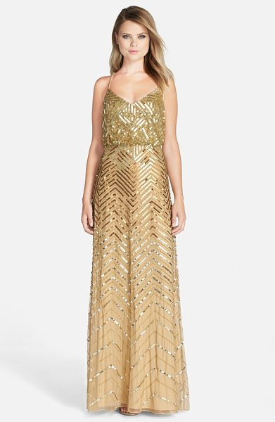 Adrianna Papell cross back sequin blouson gown in gold - A glistening sequin-and-bead chevron pattern facets the...