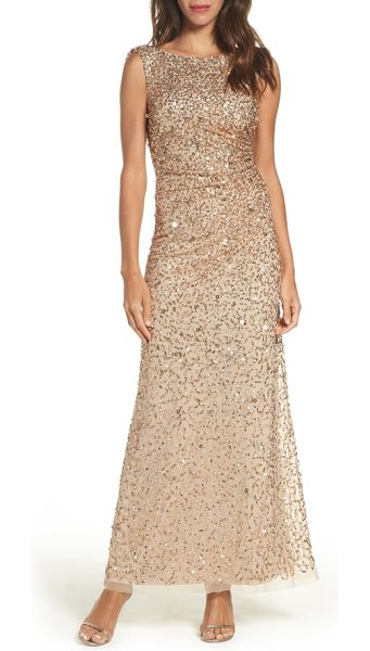 Adrianna Papell drape back gown in champagne/ gold - A stylized mix of sequins douses this mesh evening gown...