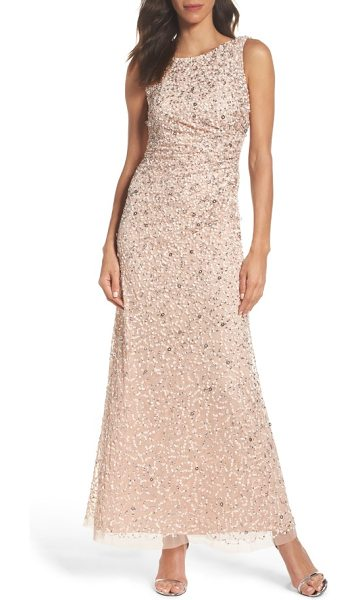 Adrianna Papell drape back gown in blush - A stylized mix of sequins douses this mesh evening gown...