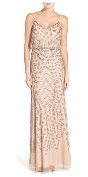 ADRIANNA PAPELL embellished blouson gown - Glitzy Art Deco-inspired beadwork traces vintage glamour...