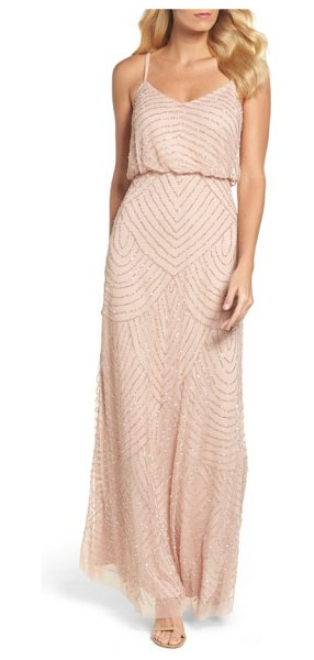 Adrianna Papell embellished blouson gown in blush - Shining metallic beads and sequins accentuate the...
