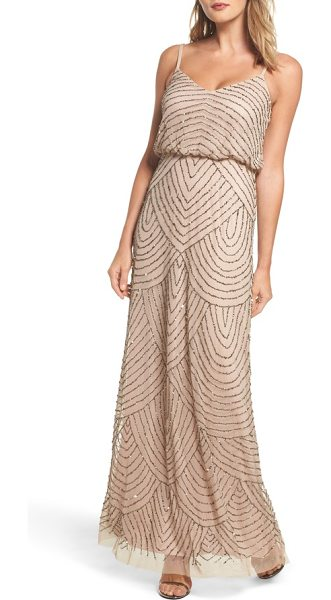 Adrianna Papell embellished blouson gown in silver/ nude - Shining metallic beads and sequins accentuate the...