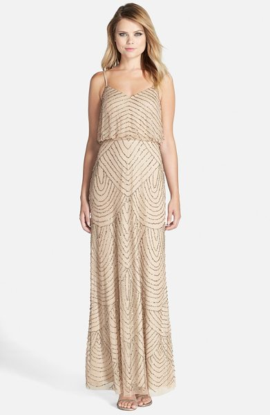 Adrianna Papell embellished blouson gown in champagne - Scalloped lines of iridescent, metallic beads and...