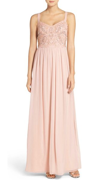 Adrianna Papell embellished bodice chiffon gown in blush - Dainty beads and shimmering sequins trace an elegant...