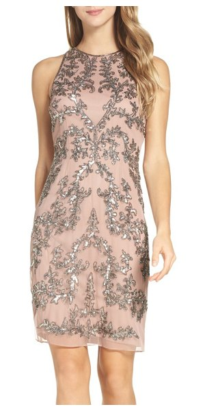 Adrianna Papell embellished chiffon sheath dress in rose gold - Lavish designs glittering in silvery beads and sequins...
