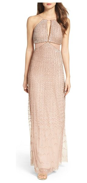 Adrianna Papell embellished cutout gown in rose gold - A tantalizing keyhole and illusion-inset cutouts add...