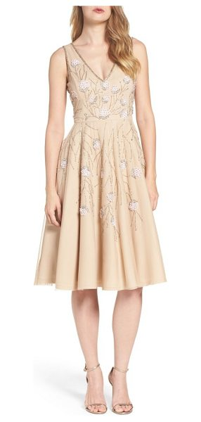 Adrianna Papell embellished dress in champagne - Delicately beaded flowers sparkle and shine against the...