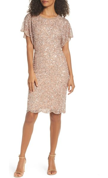 Adrianna Papell embellished flutter sleeve cocktail dress in rose gold - Light-catching sequins and pearlescent beads lend...