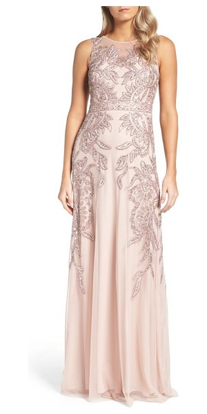 Adrianna Papell embellished gown in rose gold - Make an entrance on your special night in this...