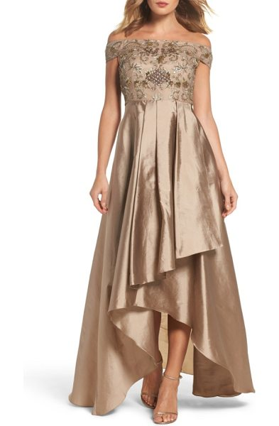 Adrianna Papell embellished high/low off the shoulder dress in antique bronze - Make it a night to remember in a stunning evening gown...