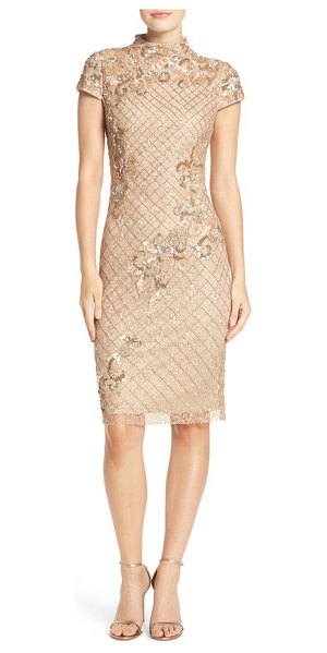 Adrianna Papell embellished lace sheath dress in champagne - A sculptural funnel neck modernizes this romantic...