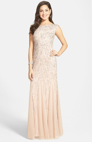 Adrianna Papell embellished mermaid gown in blush - Sparkling sequins and pearlescent beads twinkle across...