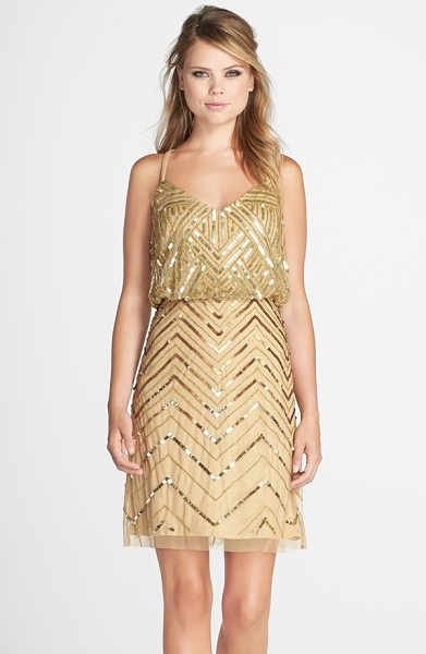 Adrianna Papell embellished mesh blouson dress in gold - Glitzy sequins and beads in Art Deco-reminiscent...