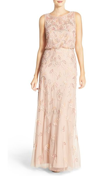 ADRIANNA PAPELL embellished mesh blouson gown - Leafy embellishments glimmer across the billowy,...