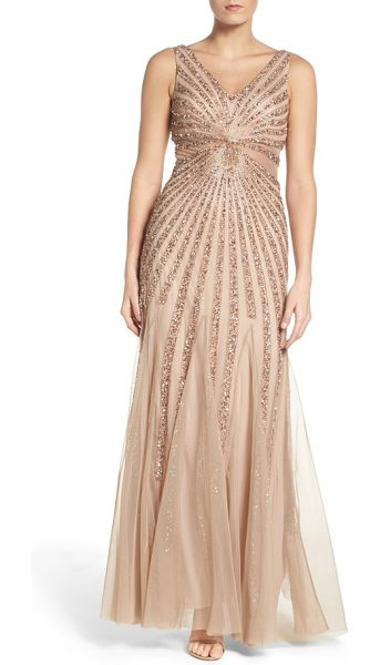 Adrianna Papell embellished mesh fit & flare gown in taupe/ pink - Glittering beads and sequins radiate from the...