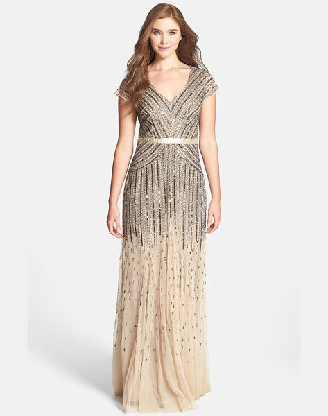 Adrianna Papell embellished mesh gown in nude - Silvery liquid-shine sequins angle across the glossy...
