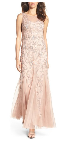 Adrianna Papell embellished mesh gown in rose gold - Enhance your natural charms in the soft color and...