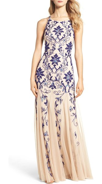 Adrianna Papell embellished mesh gown in champagne/ royal - A deep-blue brocade glistens over this gauzy,...